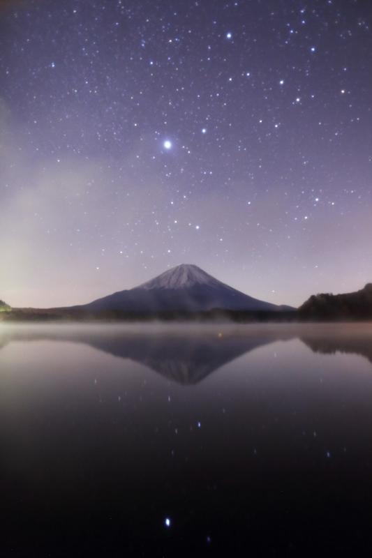 富士と星空
