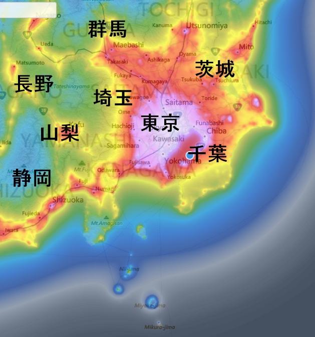 光害マップ関東